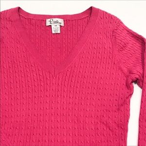 Lilly Pulitzer Cotton V Neck Cable Knit Sweater